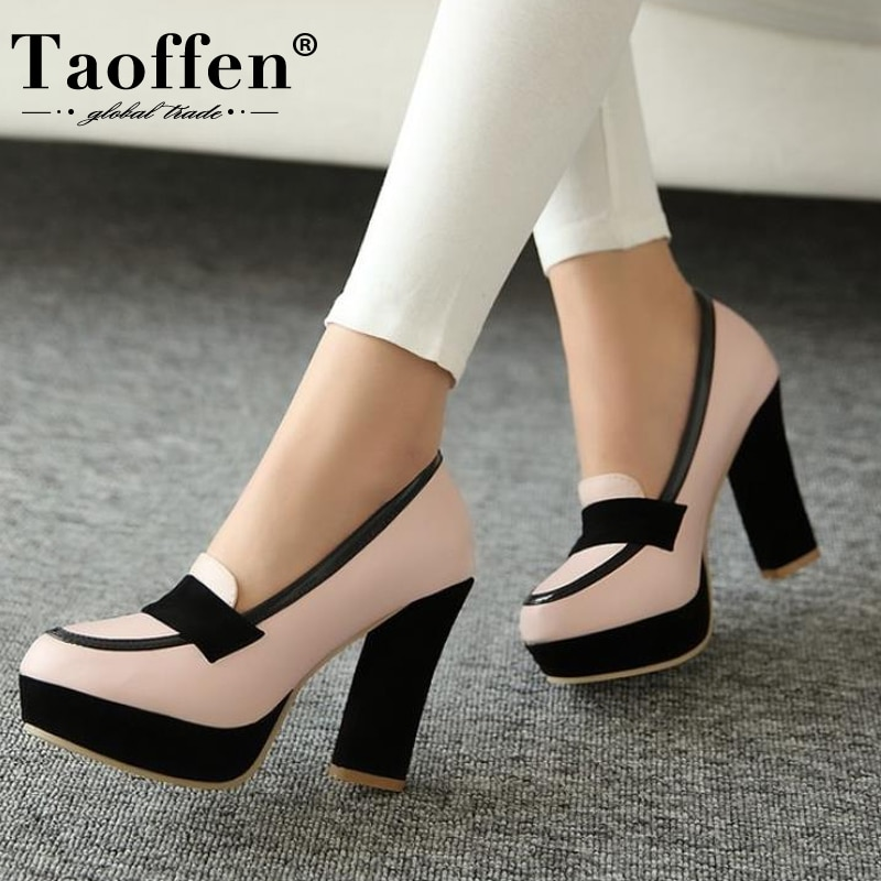 TAOFFEN ladies high heel shoes women sexy dress footwear fashion lady female brand pumps hot sale EUR size 34-48