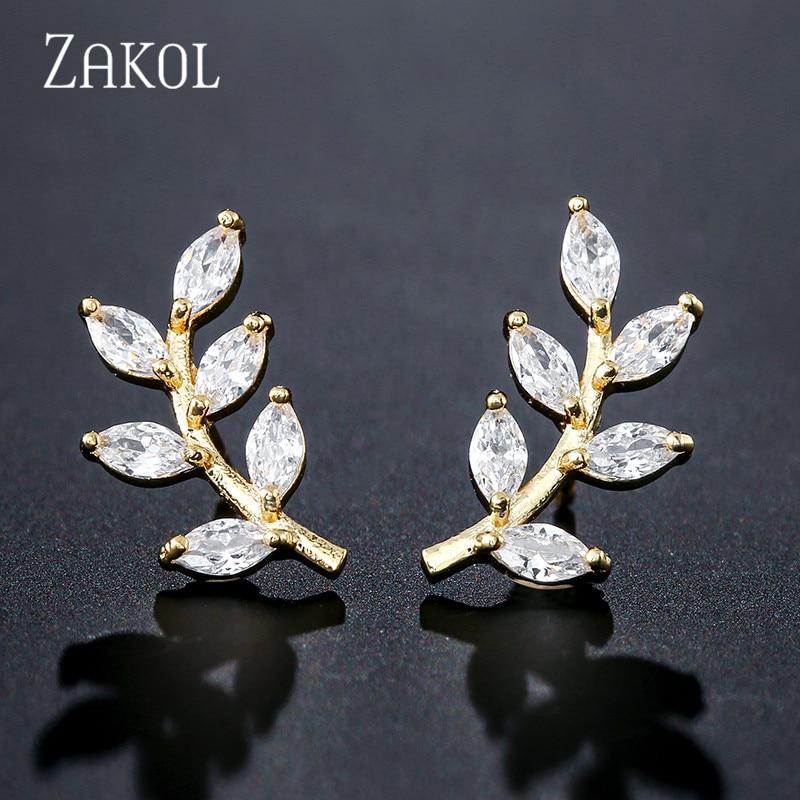 ZAKOL, recién llegado, pendientes de tuerca de hoja de circón cúbico de 2 colores, cristal de moda para boda femenina, regalos activos de estilo colgante, FSEP2494