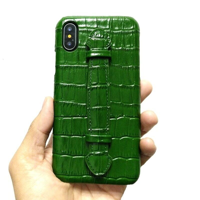 Solque جلد طبيعي رقيقة جدا الحال بالنسبة آيفون X XS ماكس 7 8 Plus الهاتف الخليوي الفاخرة التمساح حزام اليد سليم الغلاف الصلب حالات