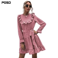 pgsd new autumn mini dress kawaii sweet fashion o neck long sleeves belt falbala white polka dot pink royal blue chiffon skirt