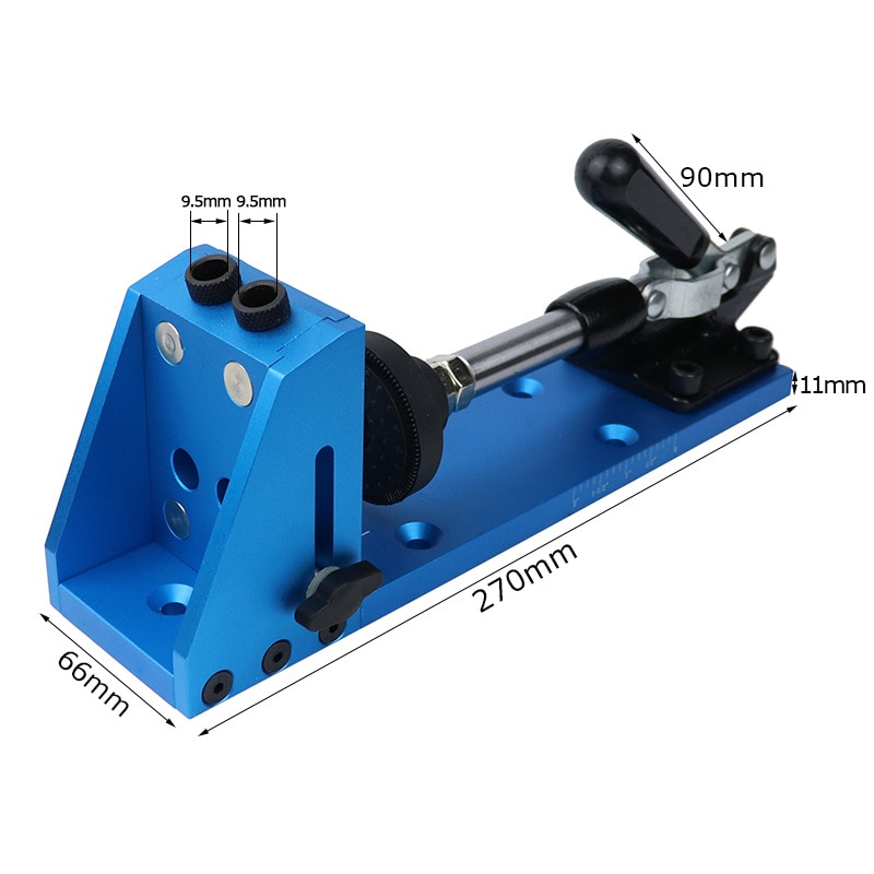 Oblique hole locator with dust cover Woodworking perforation locator Manual drilling locator Adjustable fixing clip enlarge