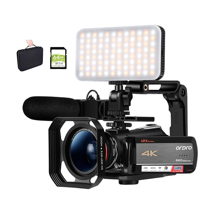 كاميرا فيديو 4K لمدونات الفيديو ، لـ YouTube ، Ordro AC5 ، تقريب بصري 12X ، كاميرا فيديو مع ضوء LED ، بطاقة SD