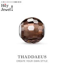 Perles en cristal fumé à facettes, bijoux en argent pour Bracelet Thomas collier Karma charmes accessoires européens