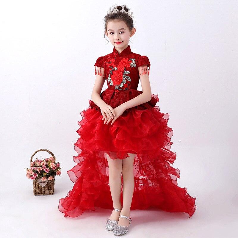 فستان بناتي أحمر مطرز بتشيونغسام للأطفال على شكل بيانو فساتين سهرة زفاف صينية طويلة من تشيباو ملابس أطفال للكريسماس
