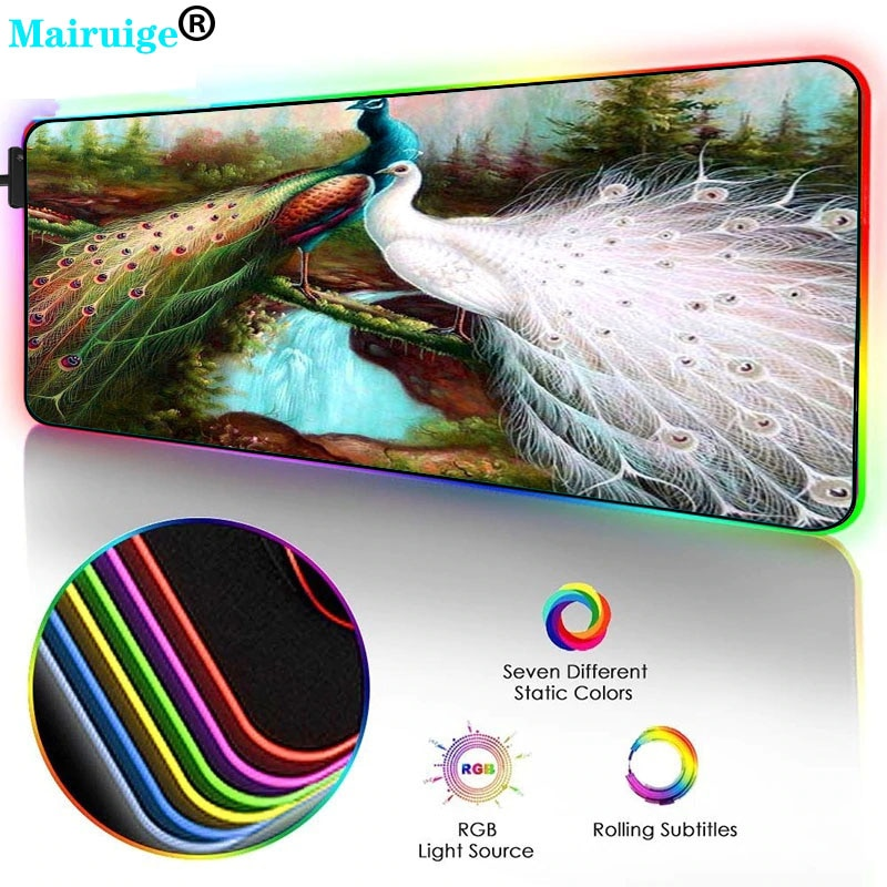 Mai Ruige Peacock XXL Large RGB Computer Game Accessories Player Rubber Non-slip Mouse Pad LEDbacklight Pad Keyboard Pad Seaming