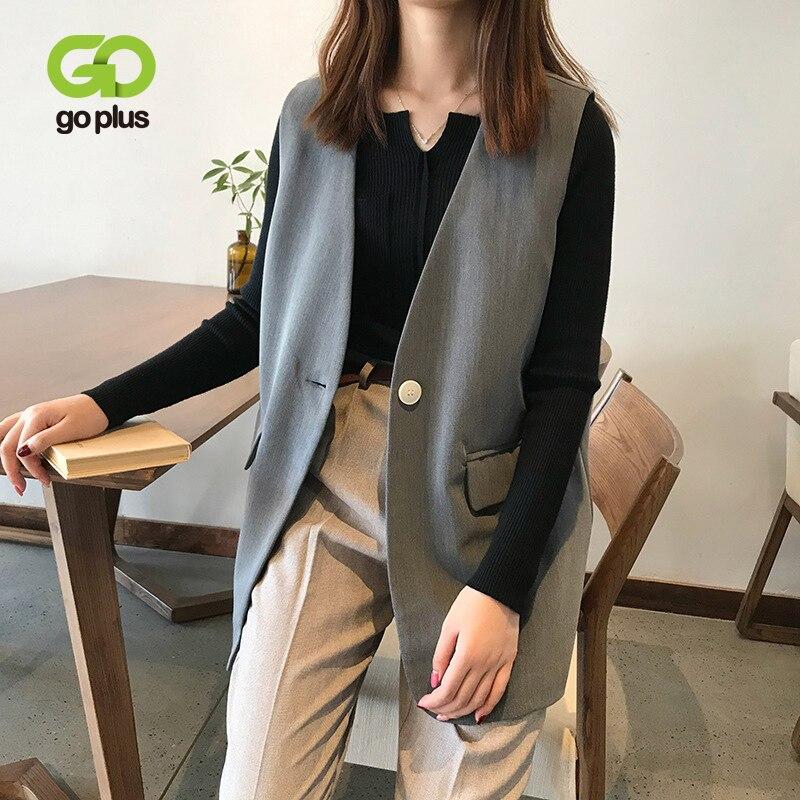 GOPLUS Autumn womens vest Korean Style Black V-neck Single Button Sleeveles Vests Office Lady Chalecos Para Mujer