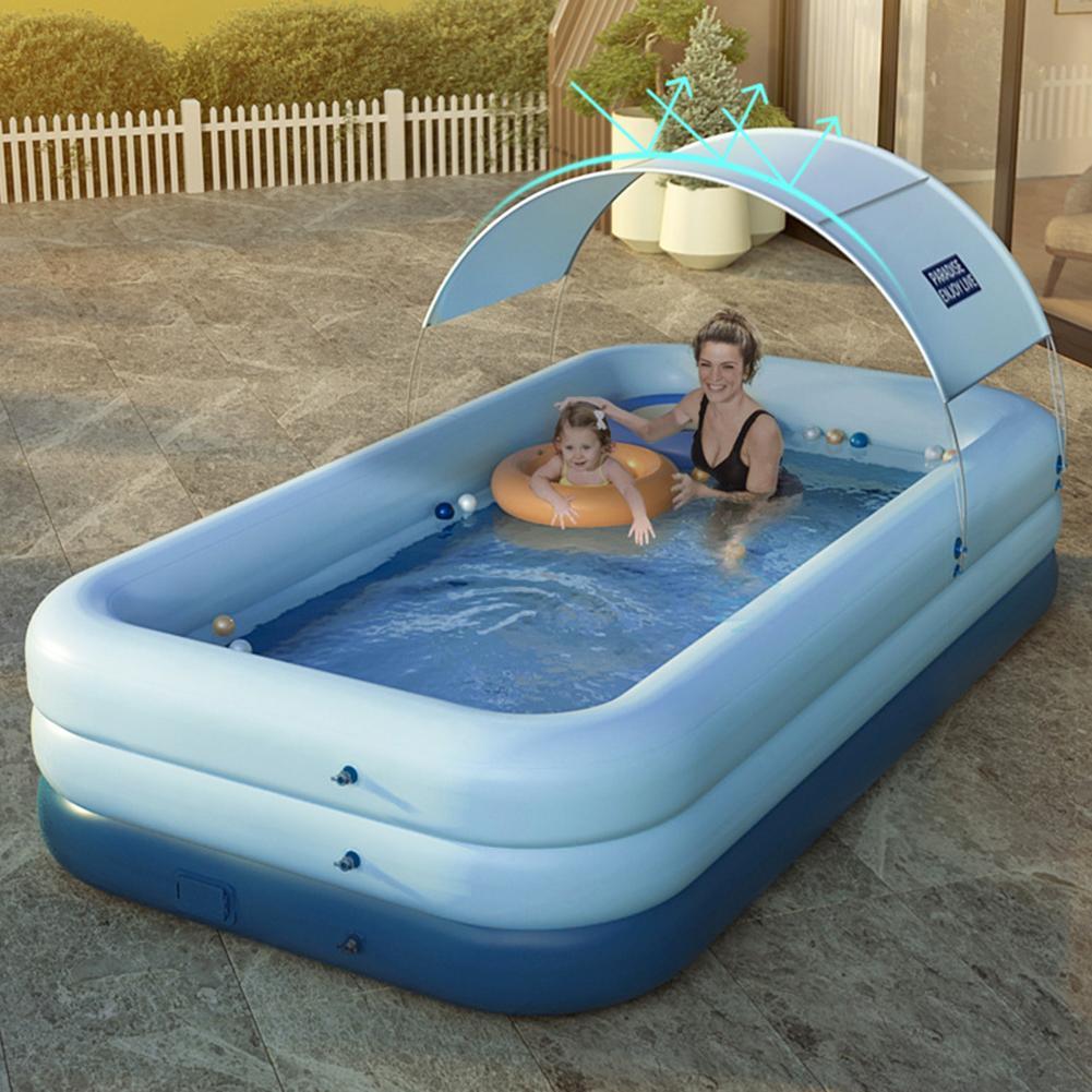 مضخة حمام سباحة لاسلكية للأطفال والكبار ، مضخة تضخم تلقائي ، مع مظلة ، بيع بالجملة