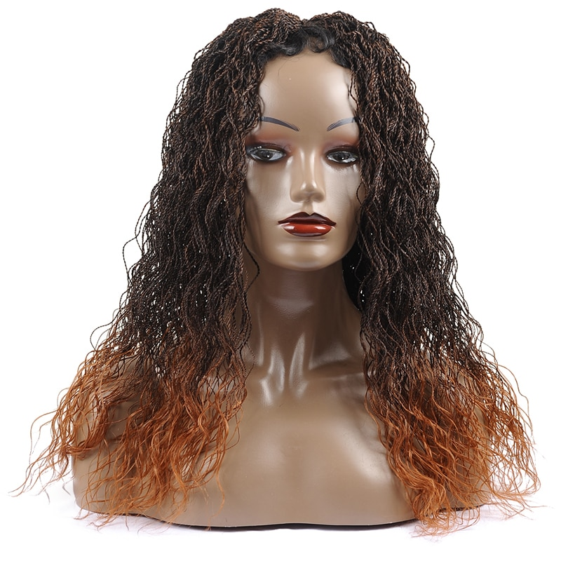 30Inch Long Curly Senegalese Twist Braided Lace Wig Synthetic Lace Front Wig for Black Women Ombre Brown Twisted Braided Wig