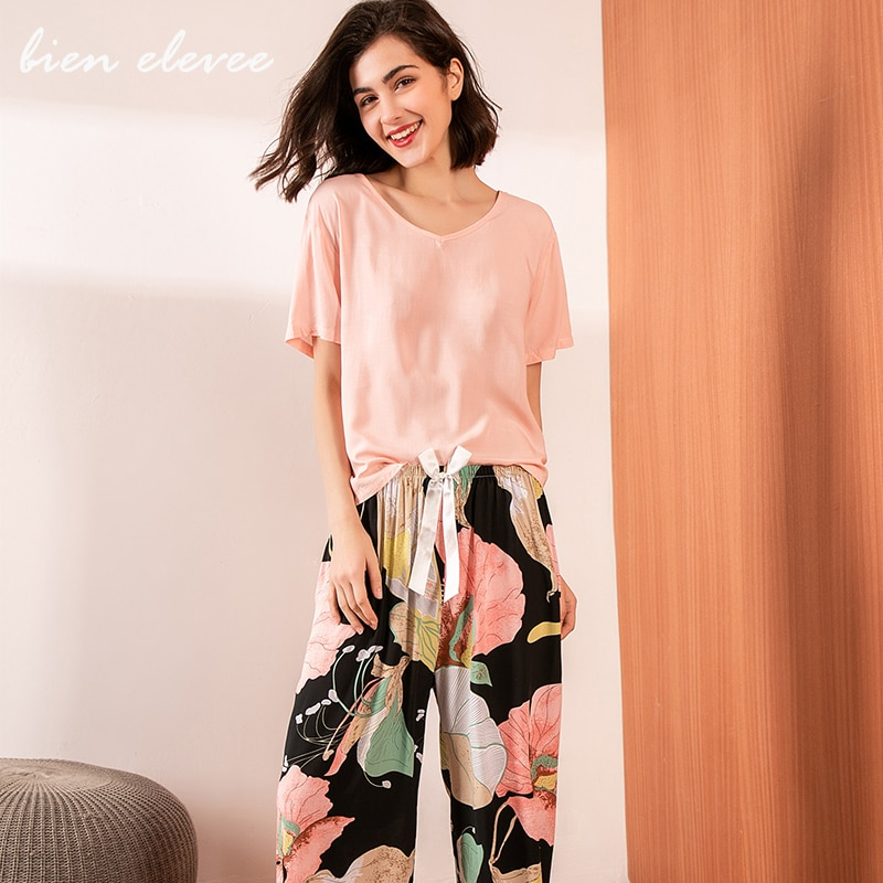 aliexpress.com - Summer Pajamas Set Women Sleepwear Female Casual Floral Printed Contrasting Color Pyjamas Tops with Long Trousers Home Clothing