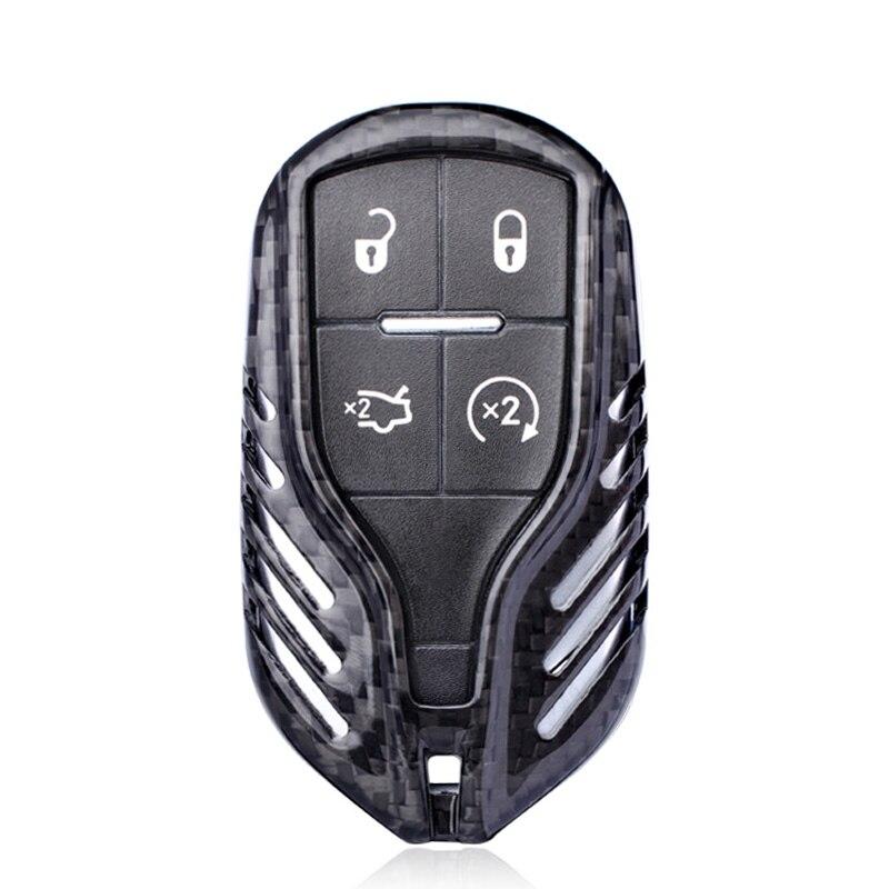 Cubierta de carcasa para llave de coche LCD de fibra de carbono negra para Maserati