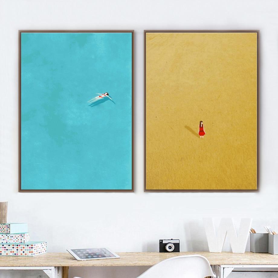 Мультфильм девушка плавать скандинавские плакаты и принты стены искусства холст живопись синие настенные картины детская комната Девушки ...