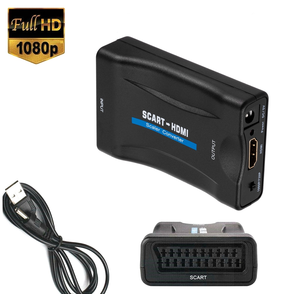 1080P SCART To HDMI-compatible Video Audio Upscale Converter Adapter for HD TV DVD for Sky Box STB Plug and Play with DC Cable