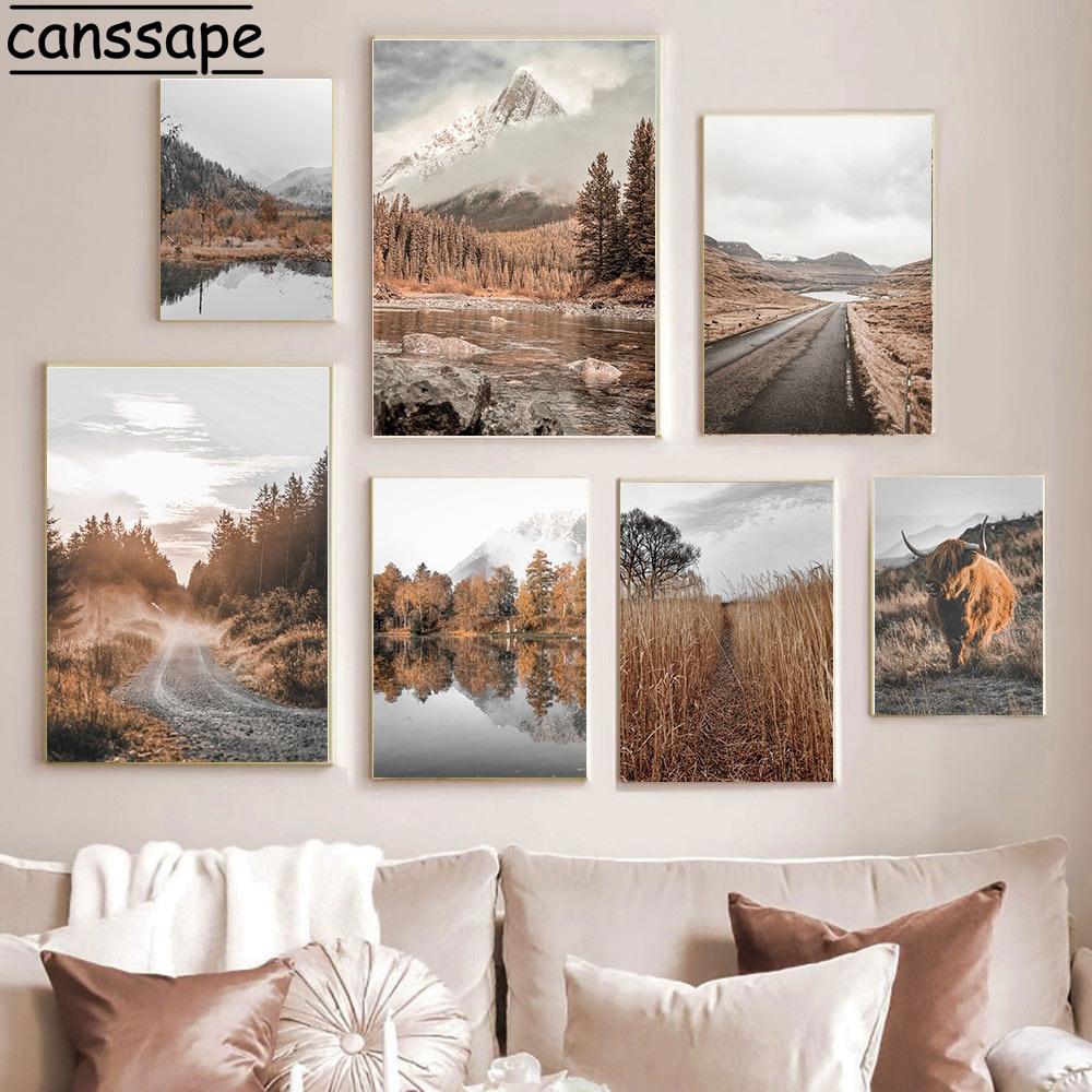 Природный пейзаж, холст, постер с сеном, искусство, картина, искусство, рисунок крупного рогатого скота, скандинавские настенные картины для...