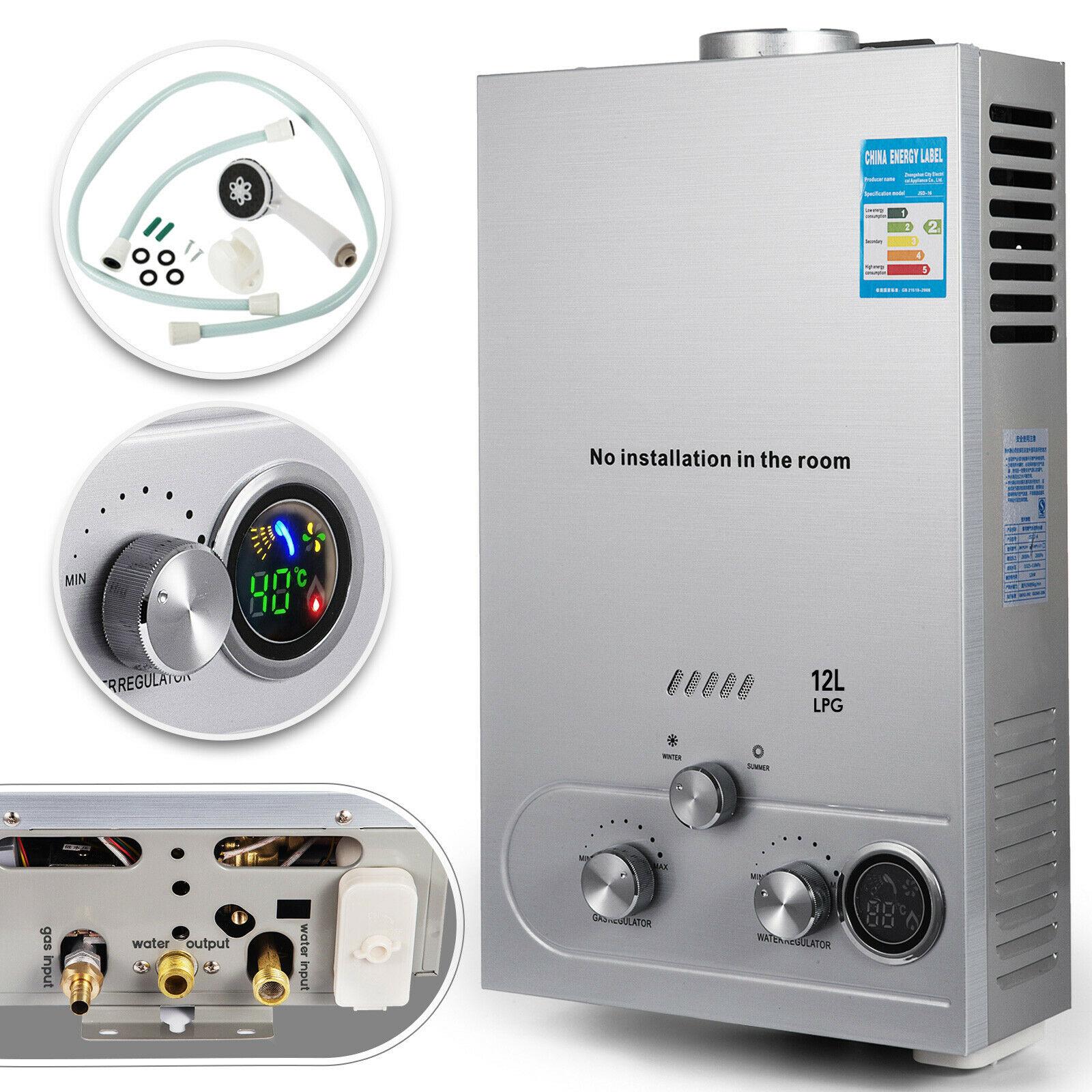 سخان مياه فوري يعمل بغاز البروبان بدون خزان ، غلاية 12 لتر مع طقم دش ، الاتحاد الأوروبي/الولايات المتحدة الأمريكية