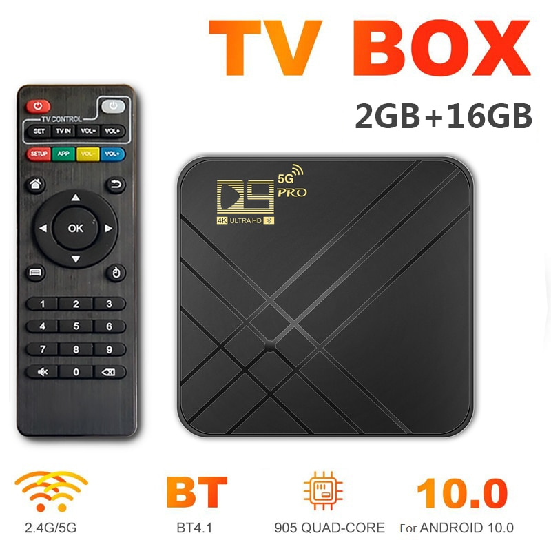 New D9 PRO Android 10.0 TV Box Voice Assistant 4K 3D Wifi 2.4G&5G 2GB RAM 16G HD Media Player Very F