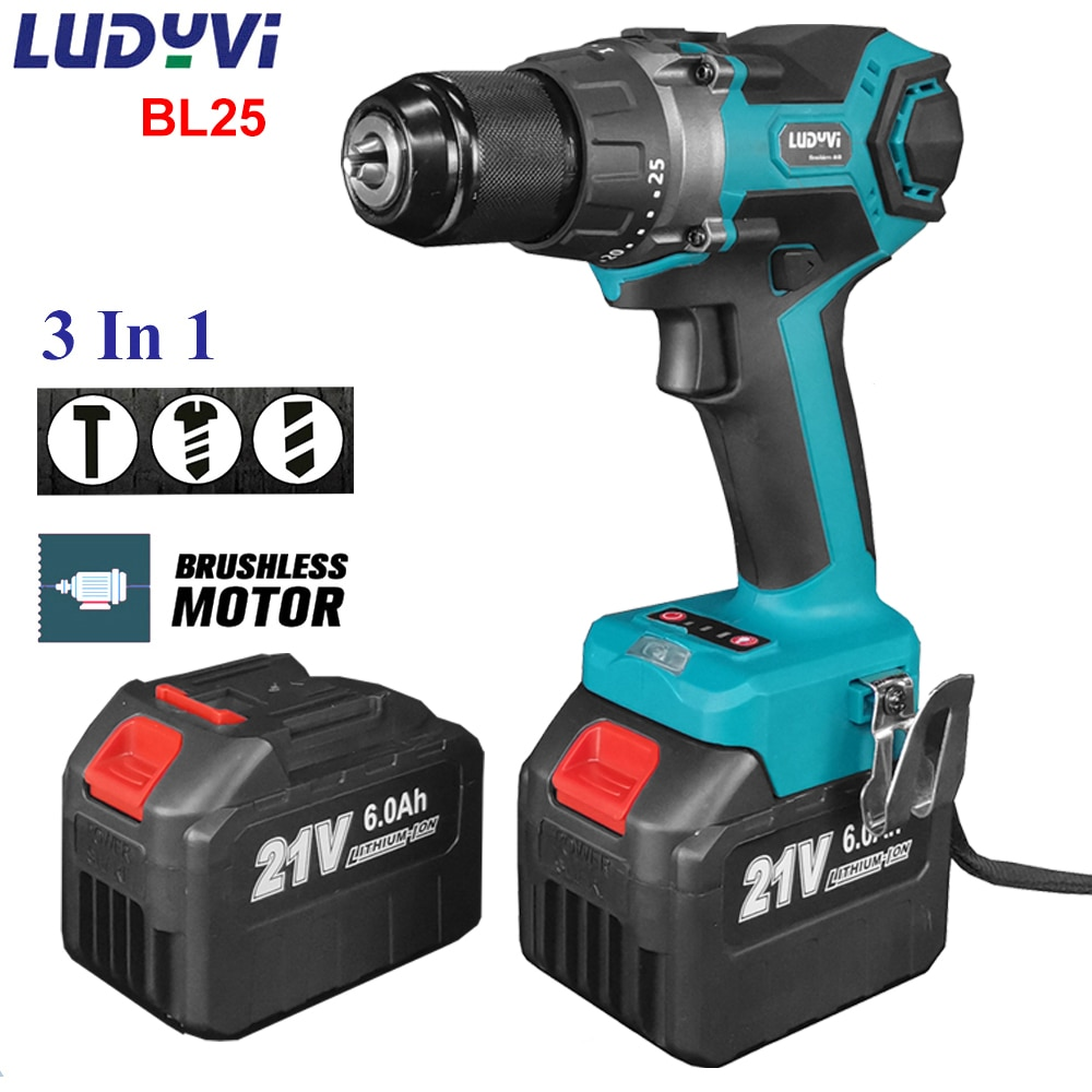 BL25 21V 13mm Cordless Impact Drill 110N/M 25+3 Torque  Brushless Electric Drill 4.0A Battery Power Tools Electric Screwdriver