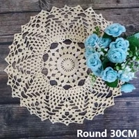 round 30cm crochet luxury flowers doilies cotton round table coaster wedding lace mat dining coffee christmas placemat decor pad