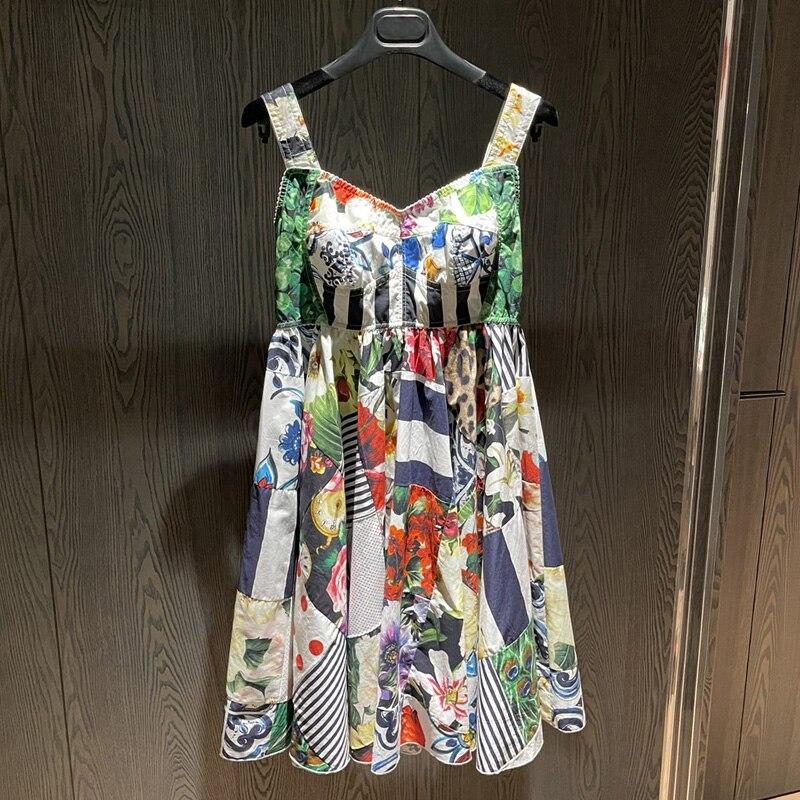 عالية الجودة المرأة فستان بكتافة موضة المدرج زهرة طباعة المرقعة عطلة فستان قصير