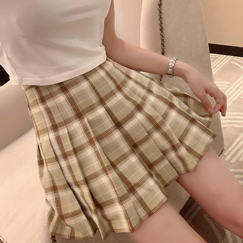 New Spring High Waist Ball Pleated Plaid A-line Sailor Skirts Harajuku Tutu Skirt Large Size Japanese School Uniform Mini Skirt