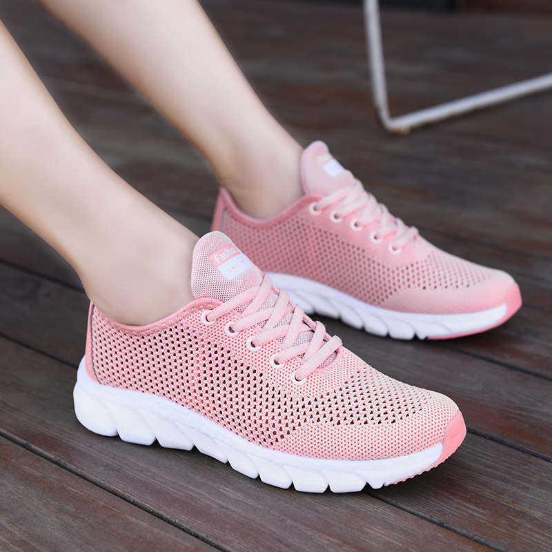 Calçado de corrida respirável feminino, sapato esportivo de tecido voador para caminhada, tênis de caminhada, verão 2021