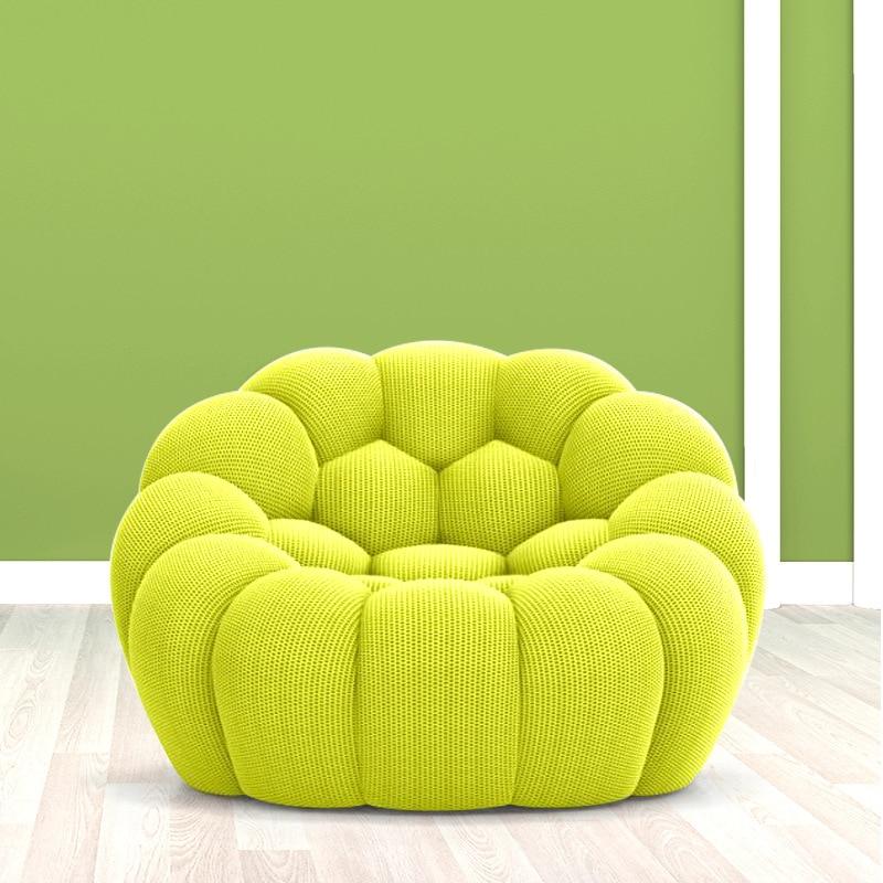 Modern Art Bubble Fabric Single-Seat Sofa Chair Small Apartment Living Room Leisure Sofa Dining Chair Creative Lazy Sofa