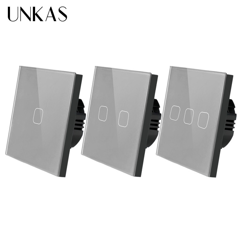 UNKAS EU/UK standard 1/2/3 Gang 1 Way Touch Switch Gray Crystal Glass Panel Touch Switch Light Wall Only Touch Function Switch 86 type 1 2 3 4 gang 1 2way coffee aluminum alloy panel switch socket five hole europe industry switch france germany uk socket