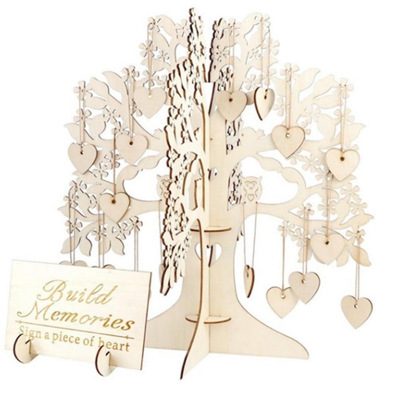Libro de invitados de boda, alternativa de madera, marco de árbol de deseos, caja de gota, letrero de mesa de memoria, artesanía DIY para decoración para fiesta de boda, Favor