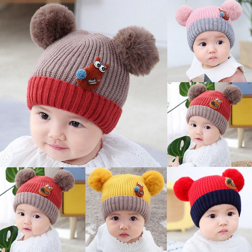 New Baby Fashion Cartoon Hairball Cute Autumn And Winter Warm Cap Knitted Hat Cute newborn photography baby cap & gorro bebe