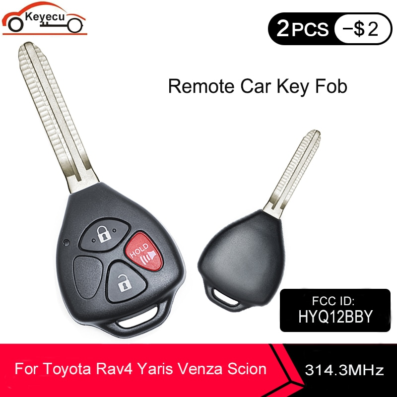 KEYECU Neue Fernbedienung Auto Key 3 Taste 314,4 MHz 4D67 Chip für Toyota Rav4 Yaris Venza Scion 2006 2007 2008 2009 2010 FCC IDHYQ12BBY