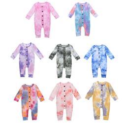 2020 bebê primavera outono roupas do bebê meninas meninos tie dye macacão manga longa macacões botões com nervuras playsuits