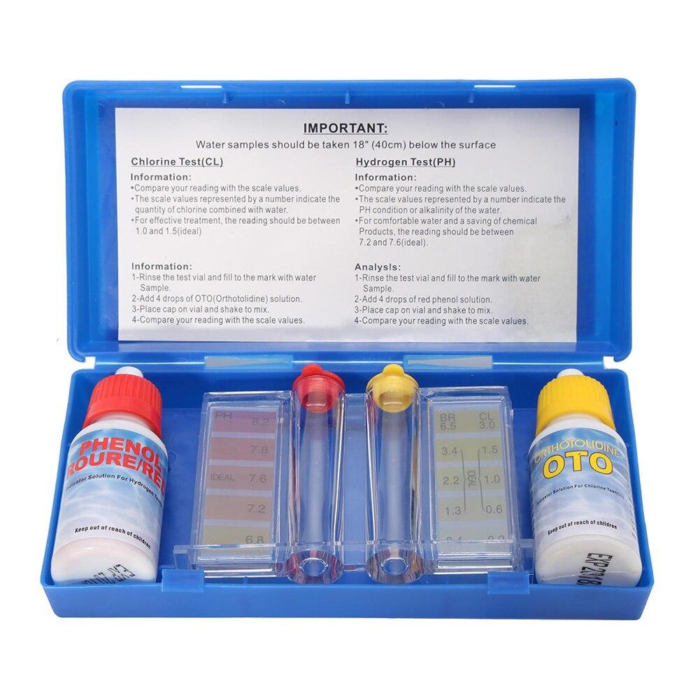 Chlorine PH Water Quality Test Kit Pool Hydroponics Aquarium Tester Pool Accessories Aquarium PH Water Quality Tester