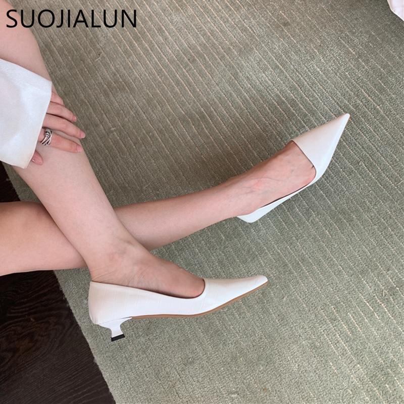 SUOJIALUN 2021 New Fashion Women Slingback Kitten Heels Pumps Shoes Ladies Elegant Pointed Toe Shall