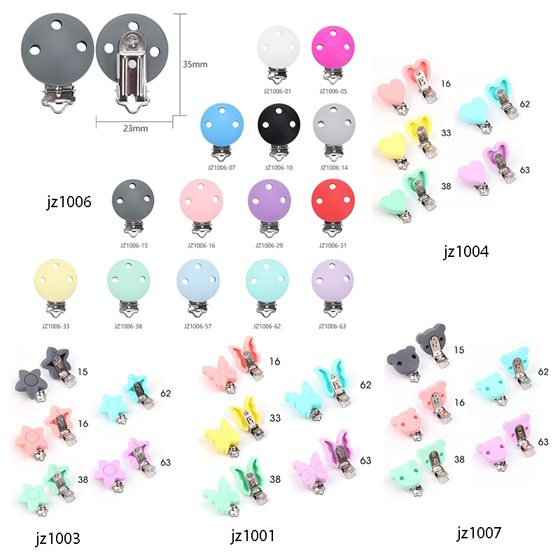TYRY.HU  Pacifier Clips 100 PC Baby Pacifier Chain Clips Holder Cartoon Dummy Food Grade Silicone Teething Child Toy DIY
