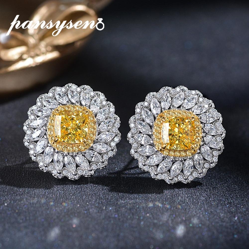 Promo PANSYSEN Hyperbole 21MM Flower Shape Luxury Clip Earrings for Women Created Moissanite Citrine Real Silver 925 Fine Jewelry Gift