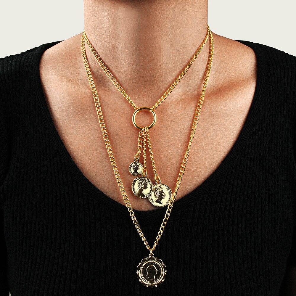 Colgante de cabeza artículo cadena sclaline mujeres moda vintage aleación COLLAR COLGANTE...