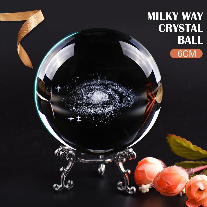 Bola de cristal grabada con láser globo galaxia creativo 3D regalo de moda cristal Bal Bola de cuarzo esfera miniatura modelo planetas 6CM