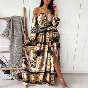 Summer Plus Size Maxi Dress Women Slash Neck Print Hem Slit Design Sexy Ankle-length Dresses Female Beach Bohemian Dress