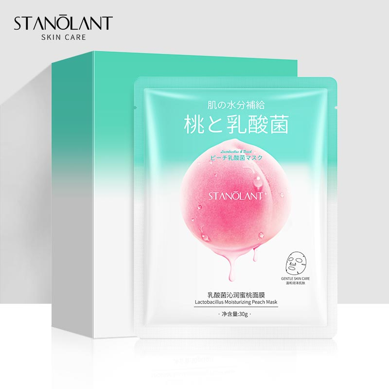 Mascarilla hidratante antibacteriana de ácido láctico, mascarilla hidratante de color melocotón para iluminar la piel, mascarilla coreana