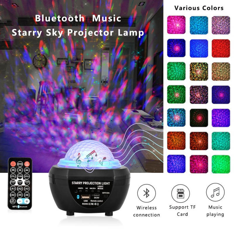 Colorful Starry Sky Galaxy Projector Blueteeth USB Bluetooth Voice Control Music Player LED Night Light Charging Projection Lamp