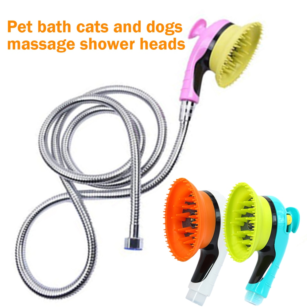 Pet banho pulverizador multifuncional cabeça de chuveiro chuveiro handheld bico pet grooming escova pet suprimentos para cães gatos atacado
