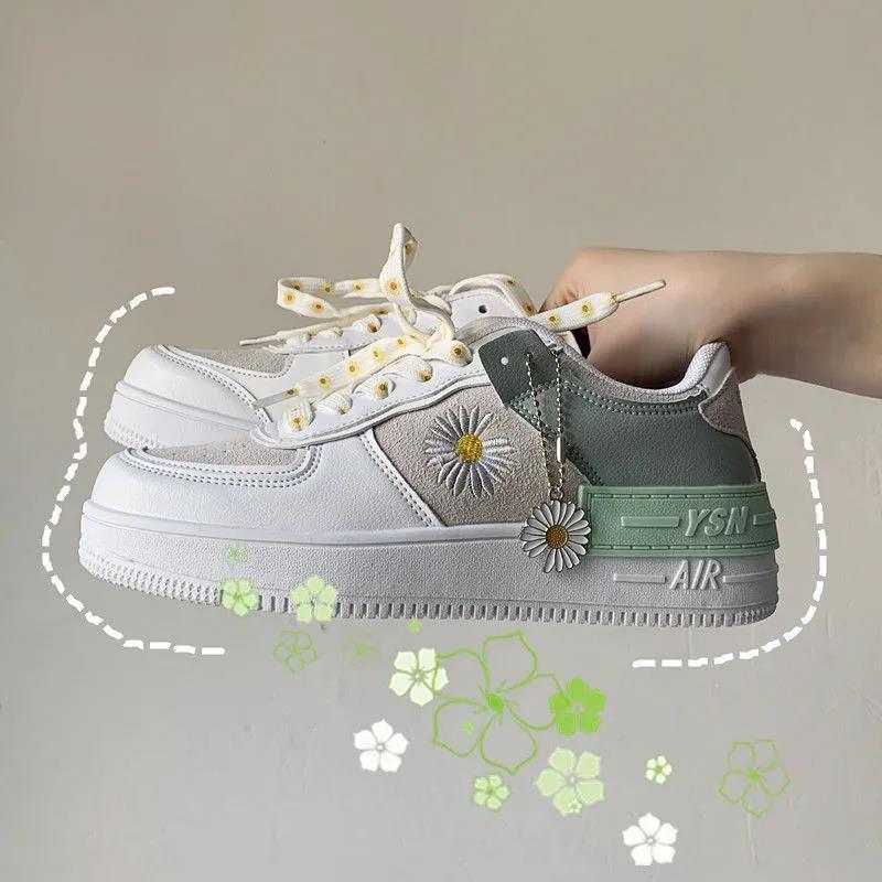 2021 الربيع الكورية xue شنغ بان شي وانغ الأحمر ليتل ديزي أحذية رياضية حذاء أبيض امرأة أحذية رياضية