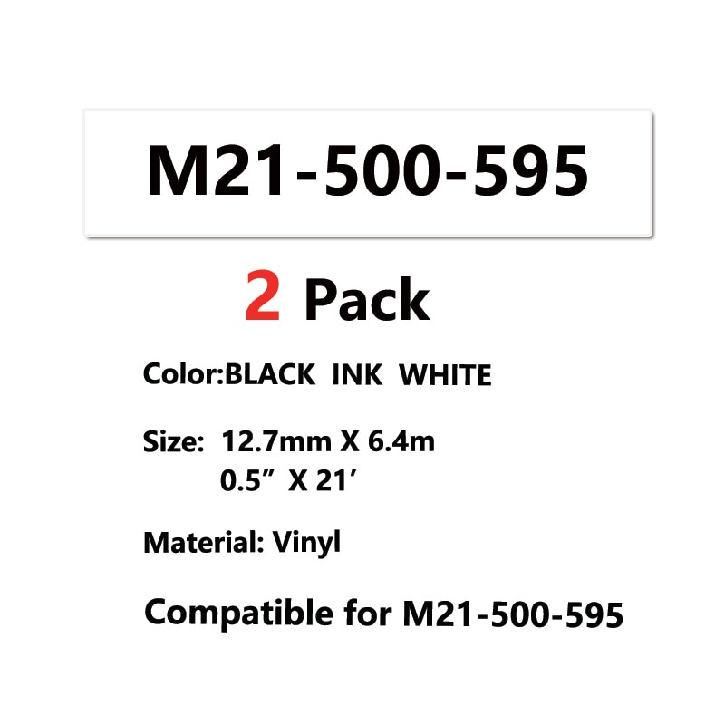 2 حزمة M21 500 595 الفينيل شريط ملصقات أسود على الأخضر M21-500-595 خرطوشة ل BMP21-PLUS IDPAL و LABPAL تسمية طابعة BMP مختبر