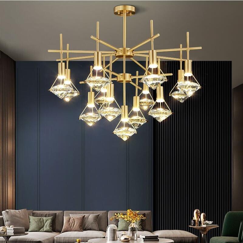 فاخر LED كريستال ثرية من النحاس الحديثة غرفة المعيشة فندق اللوبي الذهب مصباح للزينة 110-220 فولت