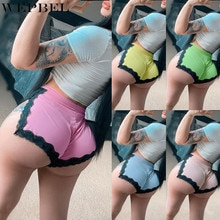 WEPBEL Shorts for Women Lace Split Shorts Yoga Sports Shorts Lace Patchwork Fitness Panties Bottom S