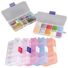 10 خلايا مجوهرات حقيبة للتخزين خواتم الحرفية المنظم البلاستيك أداة صندوق الخرز الاشياء الصغيرة المقصورات حاويات صندوق ماكياج
