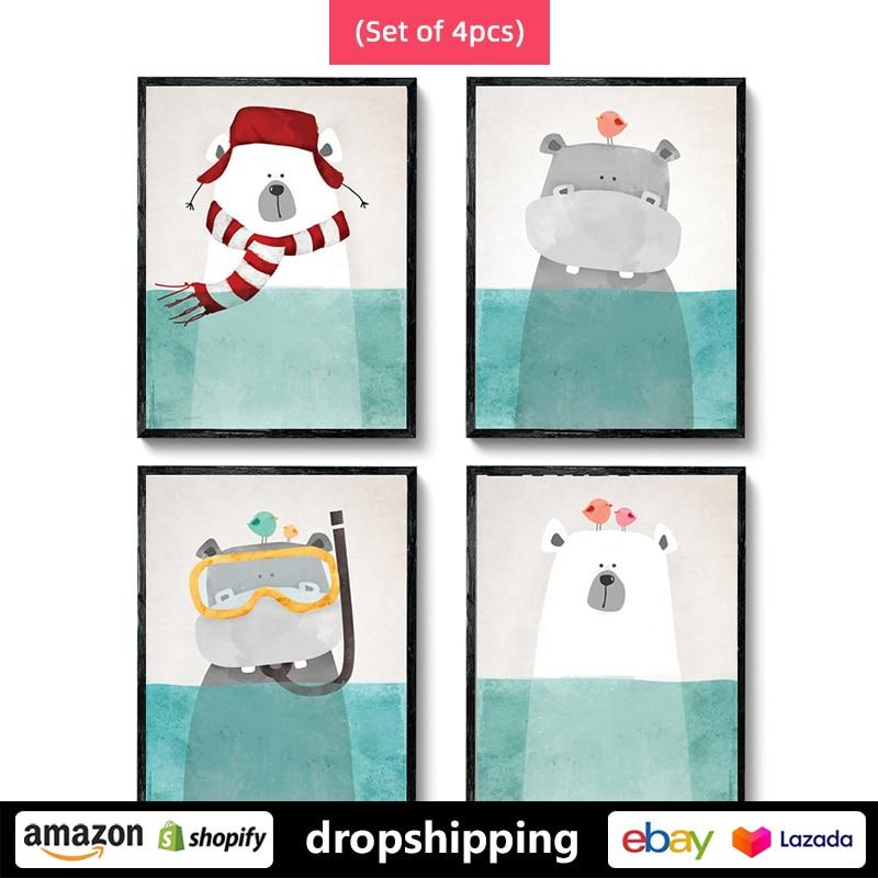 Pósteres artísticos de lienzo para pared con estampado de osos polares, animales, pingüinos, dibujos animados de ART ZONE (Juego de 4 uds), decoración para dormitorio de niños sin marco