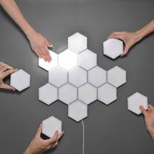 Luces de pared creativas, 3-10 Uds., lámpara de pared DIY, Interruptor táctil, lámpara cuántica, lámparas LED hexagonales, decoración Modular, enchufe US/EU/KU nuevo
