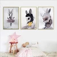 Toile avec imprimes danimaux  peinture murale dart nordique pour filles et garcons  decor mignon et doux pour la maison  lapin  affiche de dessin anime pour decor de chambre denfant