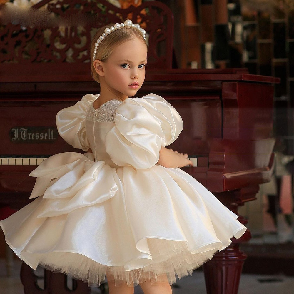 Beautiful Ivory Short Princess Big Bow Flower Girl Dress Pageant Girls Party Dresses Gowns First Communion Dresses