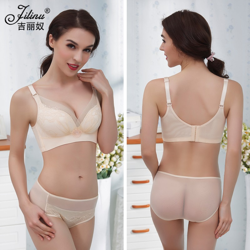 The new no rims bra set luxury noble ladies underwear no trace thin large size bra adjustable comfort and traceless underwear enlarge
